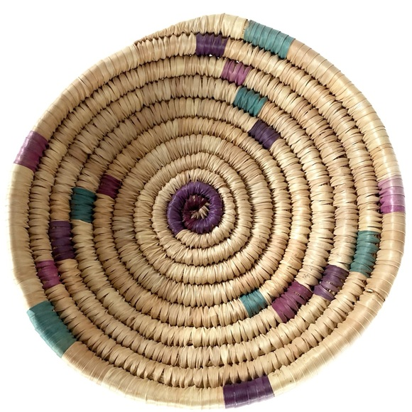 Eclectic African Woven Coil Basket Wall Decor